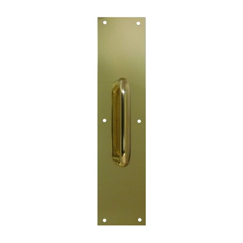 """Don-Jo 3-1/2"""" X 15"""" Pull Plate With 9"""" Pull Polished Brass 7019-605"""