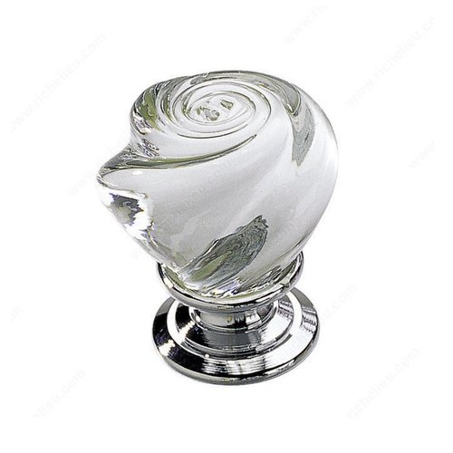 Richelieu Classic Glass 1-3/16 Inch Diameter Chrome,Clear Cabinet Knob 903014011