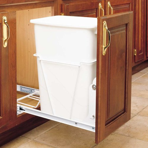 Rev-A-Shelf Single Trash Pullout 35 Quart-White RV-12PB S