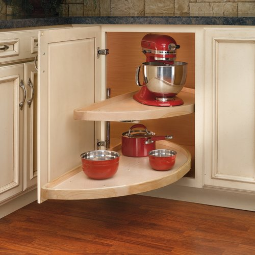 Rev-A-Shelf 2 Shelf Pivot/Slide Half Moon Lazy Susan 32 inch Wood 4WLS882-32-570