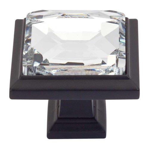 Atlas Homewares Legacy Crystal 1-5/16 Inch Diameter Matte Black Cabinet Knob 340-BL