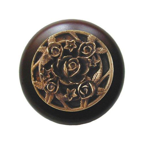 Notting Hill Floral 1-1/2 Inch Diameter Antique Brass Cabinet Knob NHW-726W-AB