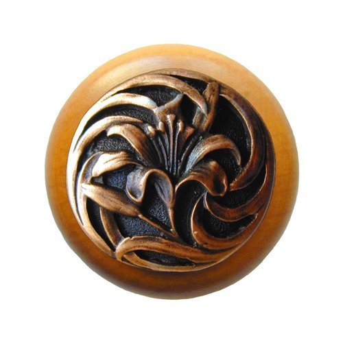 Notting Hill Floral 1-1/2 Inch Diameter Antique Copper Cabinet Knob NHW-703M-AC