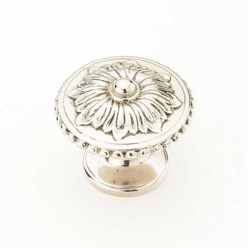 Schaub and Company Sonata 1-1/4 Inch Diameter White Brass Cabinet Knob 930-WB