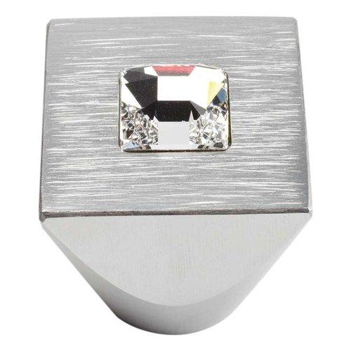 Atlas Homewares Boutique Crystal 1 Inch Diameter Matte Chrome Cabinet Knob 3195-MC