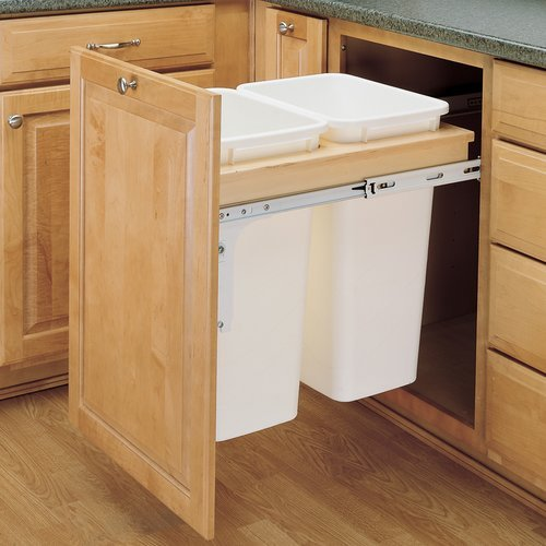 Rev-A-Shelf Double Trash Pullout 50 Quart-Wood 4WCTM-2150DM-2