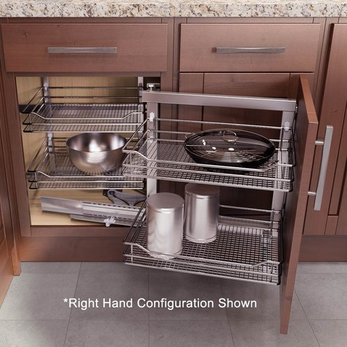 "Vauth Sagel Left Hand Wari Corner Blind Corner System 31.50"" W Chrome 9000 4165"