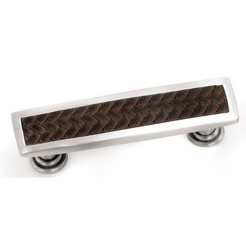 Laurey Hardware Churchill 3-3/4 Inch Center to Center Satin Nickel/Brown Leather Cabinet Pull 12490