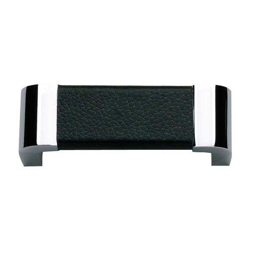 Atlas Homewares Paradigm 3 Inch Center to Center Chrome/Black Leather Cabinet Pull 3150-BL