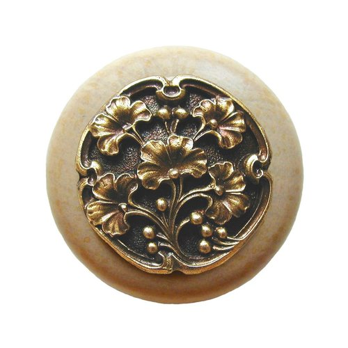 Notting Hill Leaves 1-1/2 Inch Diameter Antique Brass Cabinet Knob NHW-702N-AB