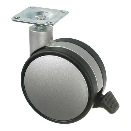 Slim Twin Wheel Caster With Swivel & Brake - Silver <small>(#67524021204)</small>