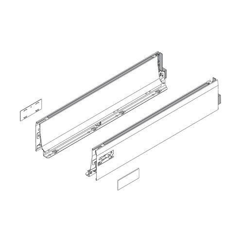 "Blum Tandembox D-16"" Drawer Profile Left/Right Stainless Steel 378L4002IA"