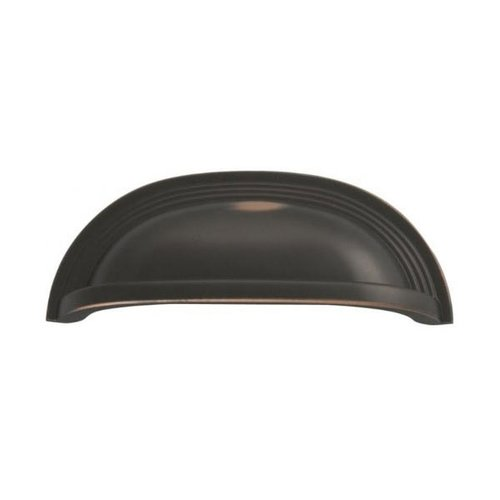 Deco 3-3/4 Inch Center to Center Oil Rubbed Bronze Highlighted Cabinet Cup Pull <small>(#P3104-OBH)</small>