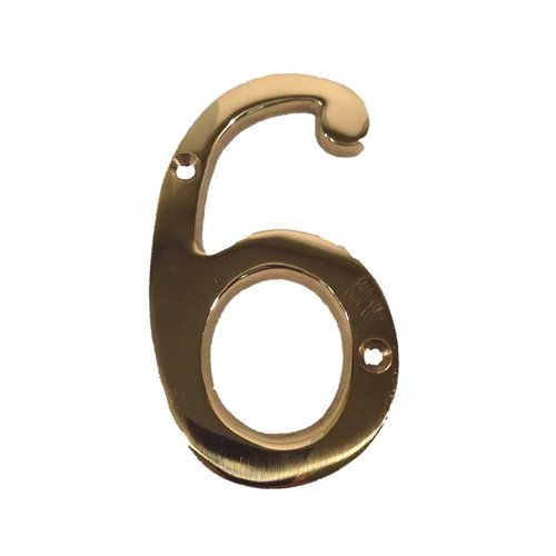 "Don-Jo 4"" House Number ""6"" Bright Brass BN4-6-605"