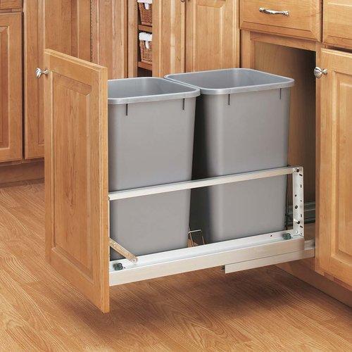 Rev-A-Shelf Double Trash Pullout 35 Quart-Silver 5349-18DM-217