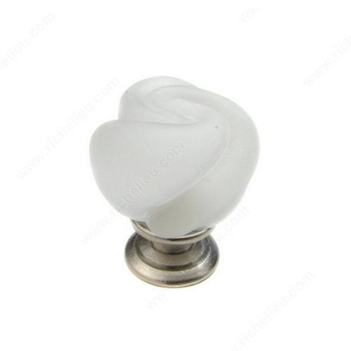 Richelieu Classic Glass 1-3/16 Inch Diameter Brushed Nickel,Frosted Clear Cabinet Knob 903019512