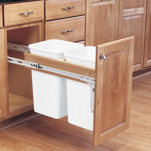Rev-A-Shelf Double Trash Pullout 27 Quart-Wood 4WCTM-15DM2