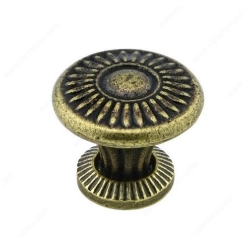 Richelieu Traditional Cast Iron 1-1/4 Inch Diameter English Bronze Cabinet Knob 388832132