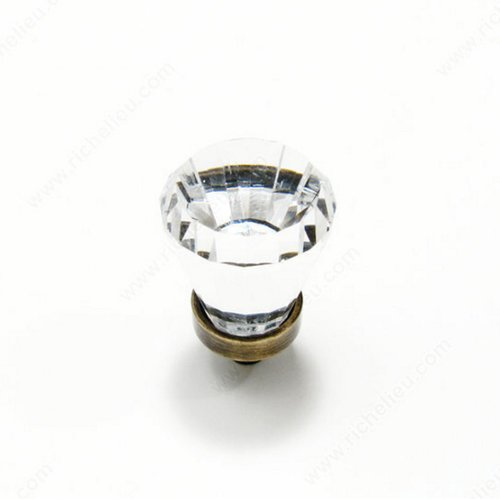 Richelieu Swarovski Crystal 3/4 Inch Diameter Antique English,Clear Cabinet Knob BP276AE11