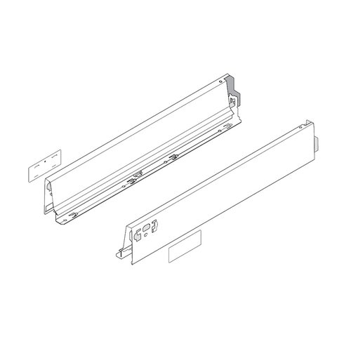 """Blum Tandembox M- 22"""" Drawer Profile Left/Right Stainless Steel 378M5502IA"""