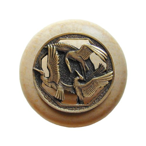 Arts & Crafts 1-1/2 Inch Diameter Antique Brass Cabinet Knob <small>(#NHW-737N-AB)</small>