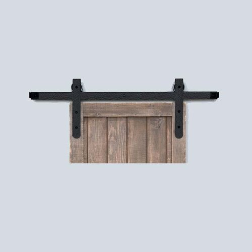 Acorn Manufacturing Designer Barn Door Rolling Hardware & 8' Track Rough Iron BH7BI-8