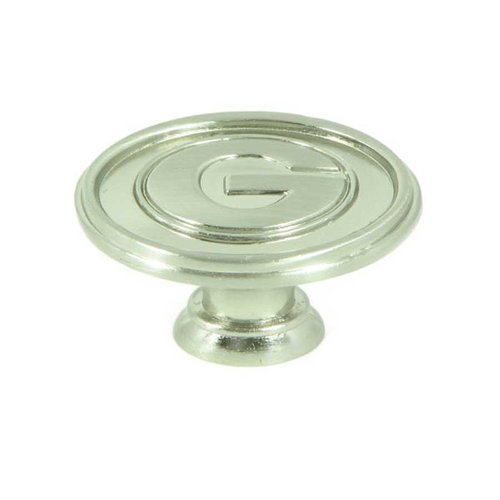 Stone Mill Hardware Collegiate 1-1/2 Inch Diameter Satin Nickel Cabinet Knob CL81097-SN-GEO