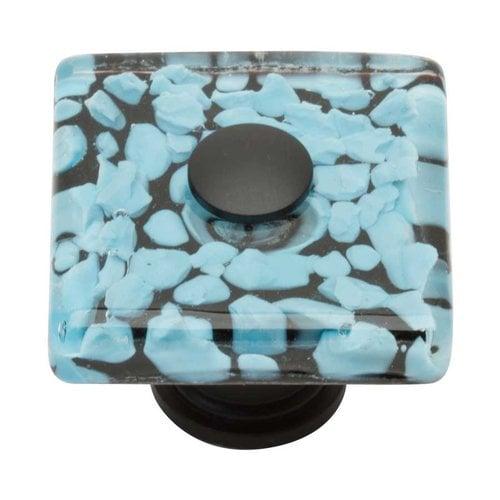 Atlas Homewares Glass 1-1/2 Inch Diameter Matte Black Cabinet Knob 3225-BL