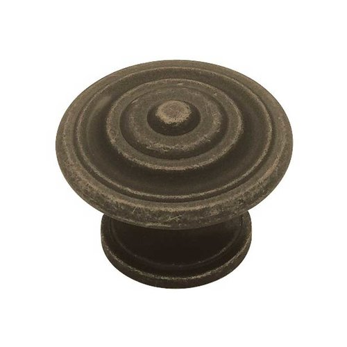 Liberty Hardware Contempo 1-3/8 Inch Diameter Distressed Oil Rubbed Bronze Cabinet Knob PN0407-OB-C