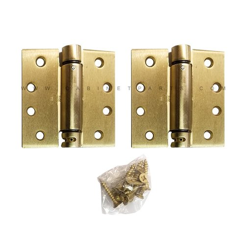 LB4310C-400 Square Corner Single Acting Spring Hinge-Brass <small>(#LB4310C-400-633)</small>