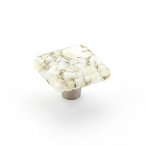 Ice 1-1/2 Inch Diameter White Lace Pebbles Cabinet Knob <small>(#34-WLP)</small>