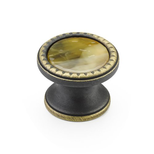 Schaub and Company Kingsway Round Knob 1-1/4 inch Diameter Ancient Bronze /Chaparral 20-ABZ-CL