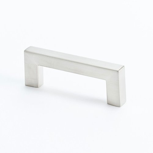 Square 2-1/2 Inch Center to Center Brushed Nickel Cabinet Pull <small>(#9290-1BPN-C)</small>