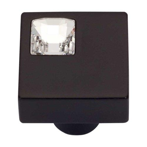 Atlas Homewares Boutique Crystal 1 Inch Diameter Matte Black Cabinet Knob 3194-BL