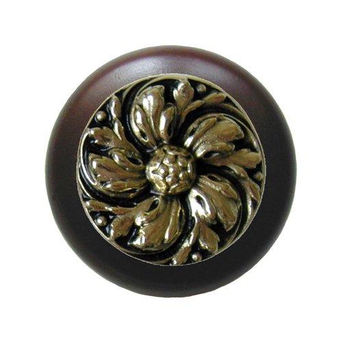 Notting Hill English Garden 1-1/2 Inch Diameter Brite Brass Cabinet Knob NHW-714W-BB