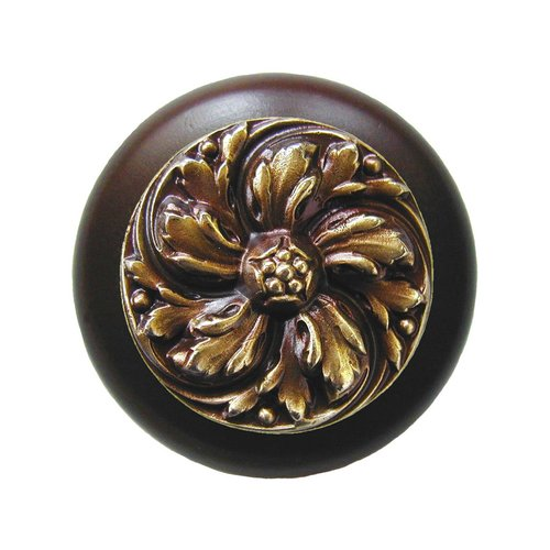 Notting Hill English Garden 1-1/2 Inch Diameter Antique Brass Cabinet Knob NHW-714W-AB