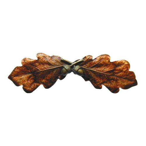 Leaves 3 Inch Center to Center Brass Hand Tinted Cabinet Pull <small>(#NHP-644-BHT)</small>