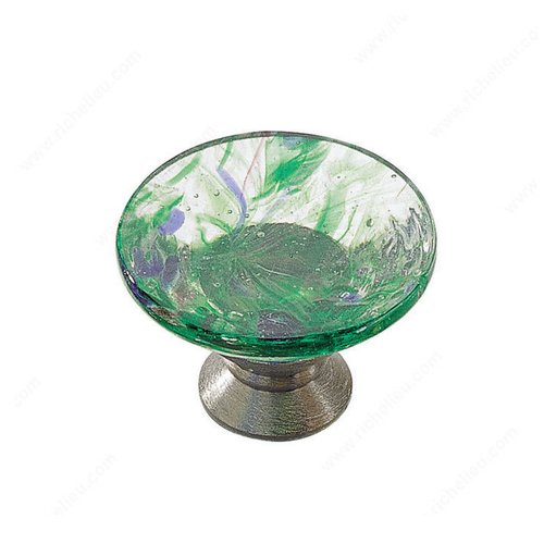 Richelieu Classic Glass 1-3/16 Inch Diameter Chrome,Harlequin Green Cabinet Knob 183014022