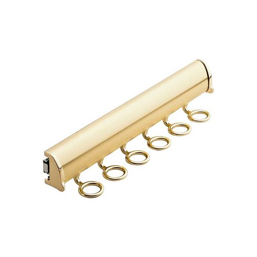 "Hafele Elite Scarf Rack Polished Brass 13-7/8"" L - 6 Hook 807.67.823"