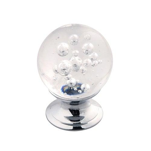 "Hickory Hardware Gemstone Knob 1-1/4"" Dia Clear Bubble Glass & Chrome HH075809-GLCH"