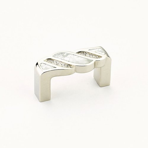 Schaub and Company Arioso 1-3/4 Inch Center to Center Mother of Pearl, Polished Nickel Cabinet Pull 630-MOP/PN