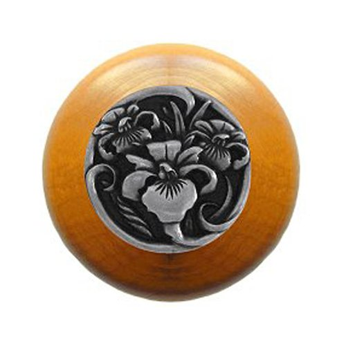 Notting Hill Floral 1-1/2 Inch Diameter Brilliant Pewter Cabinet Knob NHW-728M-BP