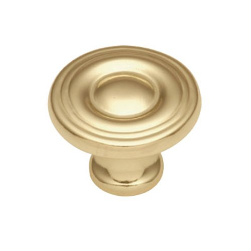Hickory Hardware Conquest 1-1/8 Inch Diameter Polished Brass Cabinet Knob P14402-3