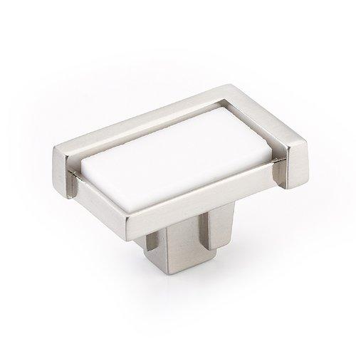 "Schaub and Company Tallmedge Knob 1-3/4"" Dia Satin Nickel/White Glass 26-SN-WH"