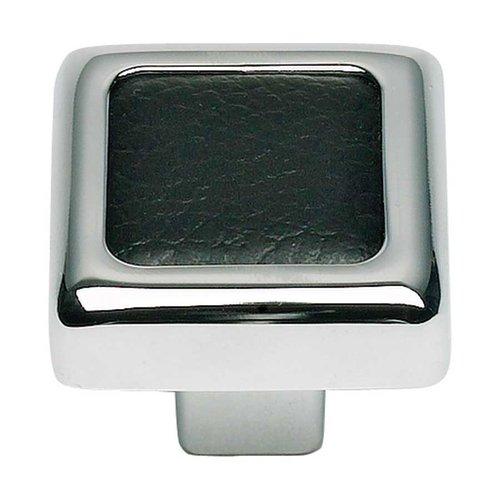 Atlas Homewares Paradigm 1-1/4 Inch Diameter Chrome/Black Leather Cabinet Knob 3149-BL