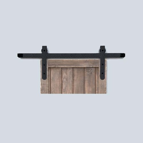 Acorn Manufacturing Designer Barn Door Rolling Hardware & 6' Track Rough Iron BH7BI-6