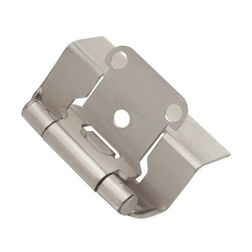 Hickory Hardware Full Wrap 1/2 inch Overlay Hinge Pair Satin Nickel P5710F-SN