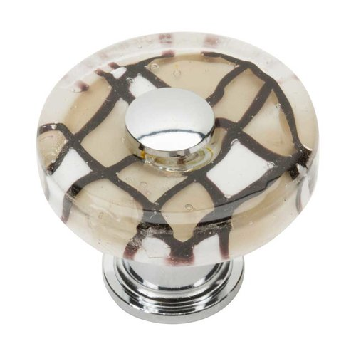 Atlas Homewares Glass 1-1/2 Inch Diameter Polished Chrome Cabinet Knob 3222-CH