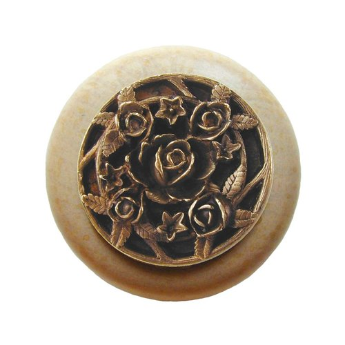 Notting Hill Floral 1-1/2 Inch Diameter Antique Brass Cabinet Knob NHW-726N-AB
