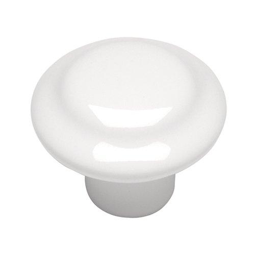 Hickory Hardware Conquest 1-3/8 Inch Diameter White Cabinet Knob P14848-W